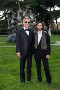 """ROME, ITALY - NOVEMBER 21:  Singer Andrea Bocelli and actor Toby Sebastian attend """"The Music of Silence"""" by Michael Radford. On set with Andrea Bocelli and AMBI Media Group producers at Cinecitta on November 21, 2016 in Rome, Italy.  (Photo by Venturelli/Getty Images)"""